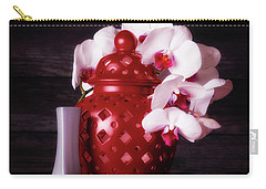 Orchids With Red And Gray Carry-all Pouch
