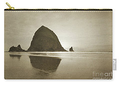 Oregon Haystack Rock Beach Rustic Landscape Carry-all Pouch by Andrea Hazel Ihlefeld