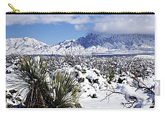 Carry-all Pouch featuring the photograph Winter's Blanket Organ Mountains by Kurt Van Wagner