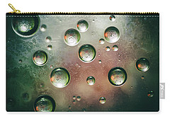 Carry-all Pouch featuring the photograph Organic Silver Oil Bubble Abstract by John Williams