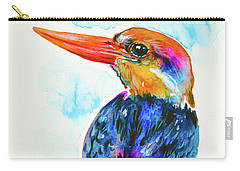 Carry-all Pouch featuring the painting Oriental Dwarf Kingfisher by Zaira Dzhaubaeva