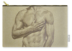 Original Artwork Drawing Sketch Male Nude Man On Brown Paper#16-6-16-03 Carry-all Pouch by Hongtao Huang