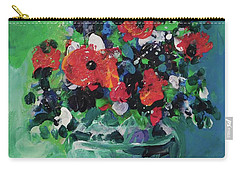 Original Bouquetaday Floral Painting By Elaine Elliott, Blues And Greens, 12x12, 59.00 Incl. Shippin Carry-all Pouch