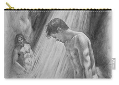 Original Charcoal Drawing Art Male Nude By Twaterfall On Paper #16-3-11-16 Carry-all Pouch