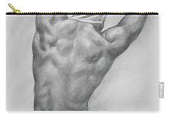 Original Charcoal Drawing Art Male Nude  On Paper #16-3-10-13 Carry-all Pouch