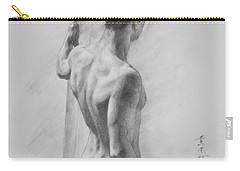 Original Charcoal Drawing Art Male Nude  On Paper #16-3-11-12 Carry-all Pouch
