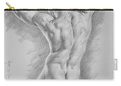 Original Charcoal Drawing Art Male Nude  On Paper #16-3-11-25 Carry-all Pouch
