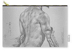 Original Charcoal Drawing Art Male Nude On Paper #16-3-11-26 Carry-all Pouch