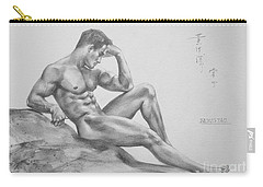 Original Charcoal Drawing Art Male Nude  On Paper #16-3-11-35 Carry-all Pouch