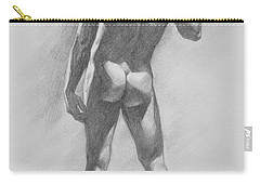 Original Charcoal Drawing Male Nude Mam On Paper #16-1-15-02 Carry-all Pouch