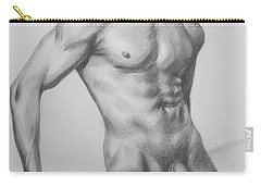 Original Charcoal Drawing Male Nude Man On Paper #16-1-15 Carry-all Pouch by Hongtao Huang