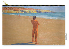 Original Classic Oil Painting Man Body Art Male Nude By The Sea-0017 Carry-all Pouch