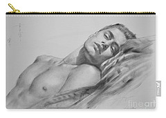 Original Drawing  Art Male Nude Men Gay Interest Boy On Paper #11-02-01 Carry-all Pouch