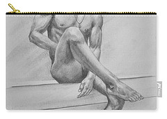 Original Drawing Charcoal Male Nude Boy Man On Paper #16-3-29-01 Carry-all Pouch