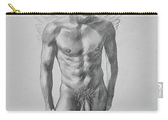Original Drawing Sketch Charcoal Angel Of Male Nude Boy On Pape#16-8-24 Carry-all Pouch by Hongtao Huang