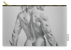 Original Drawing Sketch Charcoal Chalk Male Nude Gay Interst Man Art Pencil On Paper -0040 Carry-all Pouch