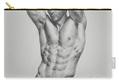 Original Drawing Sketch Charcoal Male Nude Gay Interest Man Body Art Pencil On Paper -0056 Carry-all Pouch