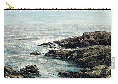 Carry-all Pouch featuring the painting Original Fine Art Painting Bass Rocks Massachusetts by G Linsenmayer