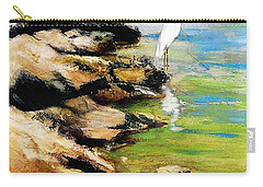 Carry-all Pouch featuring the painting Original Fine Art Painting Pool Edge Gulf Coast Florida by G Linsenmayer
