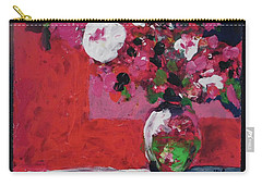 Original Floral Painting By Elaine Elliott, 12x12 Acrylic And Collage, 59.00 Incl. Shipping, Contemp Carry-all Pouch