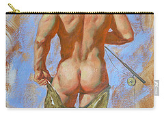 Original Oil Painting Art Male Nude Fisherman On Linen #16-2-20 Carry-all Pouch