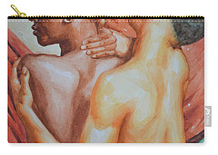 Original Watercolor Painting Artwork Male Nude Gay Men On Paper#10-25-01 Carry-all Pouch