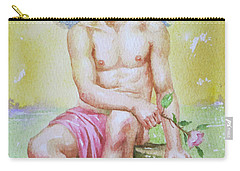 Original Watercolour Angel Of Nude Boy On Paper#16-11-2-01 Carry-all Pouch