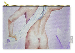 Original Watercolour Male Nude Bather On Paper#16-10-6-01 Carry-all Pouch