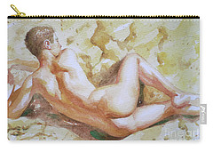 Original Watercolour Male Nude Men On Paper#16-11-6 Carry-all Pouch