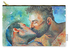 Original Watercolour Painting Art Portrait Of Two Men ' Kiss  On Paper #16-1-26-07 Carry-all Pouch by Hongtao Huang
