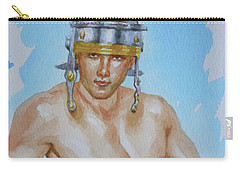 Original Watercolour  Painting  Male Nude On Paper#16-11-18-01 Carry-all Pouch