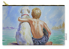 Original Watercolour Painting Nude Boy And Dog On Paper#16-11-18 Carry-all Pouch