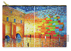 Carry-all Pouch featuring the painting Original Western Wall Jerusalem Wailing Wall Acrylic 2 Panels by Georgeta Blanaru