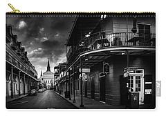 Orleans Street To St Louis Cathedral In Black And White Carry-all Pouch