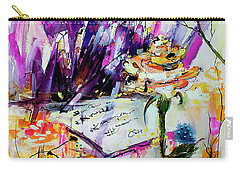 Carry-all Pouch featuring the painting Yellow Rose For Friendship Travel Log 07 by Ginette Callaway