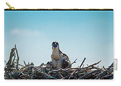 Carry-all Pouch featuring the photograph Osprey Chick Smiles For The Camera by Jeff at JSJ Photography