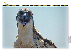 Carry-all Pouch featuring the photograph Osprey Chick Smiles For The Camera Macro by Jeff at JSJ Photography