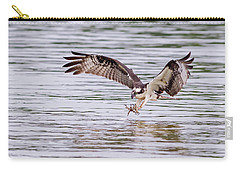 Carry-all Pouch featuring the photograph Osprey Going For Breakfast by Lori Coleman