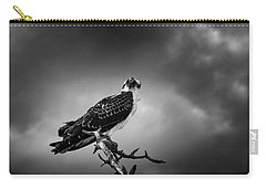 Carry-all Pouch featuring the photograph Osprey In Black And White by Chrystal Mimbs