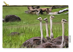 Ostriches In Africa Carry-all Pouch by Dan Sproul