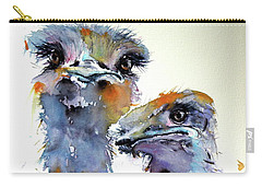 Carry-all Pouch featuring the painting Ostriches by Kovacs Anna Brigitta