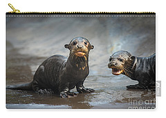 Otter Pup Pair Carry-all Pouch by Jamie Pham
