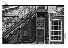 Carry-all Pouch featuring the photograph Over Under The Stairs - Bw by Christopher Holmes
