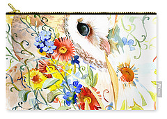 Owl And Flowers Carry-all Pouch by Suren Nersisyan