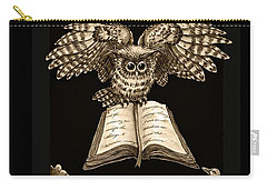 Owl And Friends Sepia Carry-all Pouch