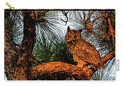 Owl In The Very Last Sunset Light Carry-all Pouch