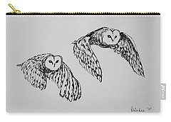 Owls In Flight Carry-all Pouch by Victoria Lakes
