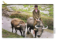 Carry-all Pouch featuring the photograph Oxen Day Off.cambodia by Jennie Breeze