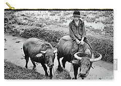 Carry-all Pouch featuring the photograph Oxen Day Off.cambodia Bw by Jennie Breeze