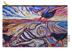 Oyster Catchers At Stuck On Sandy Beach Carry-all Pouch by Dianne  Connolly
